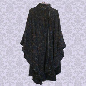 Vintage 100% wool cape thick rainbow poncho cloak